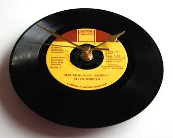 "Stevie Wonder Vinyl Record CLOCK A recycled 7"" single ""MASTER BLASTER"" Jammin' gift retro vintage music dad for men guys tamla motown label"
