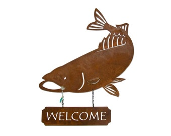 Personalized Steel Fishing Sign