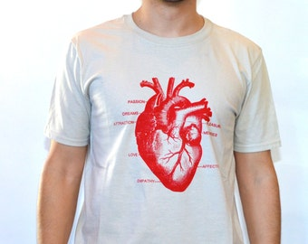 Men's Graphic T-Shirt  Heart Design Hand Screen Printed Fitted Tee