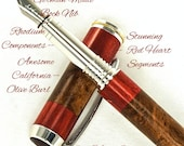 Custom Fountain Pen Beautiful California Olive Burl with Red Heart Segments and Finial Rhodium and Gold Titanium Hardware 665FPB