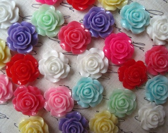 Resin Rose / Flower Cabochon / Cabochon Flower Rose / 10 pc Mixed Lot 14mm Roses Perfect for Rings, Bobby Pins and more