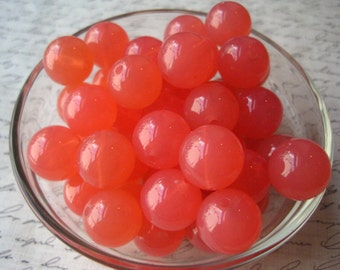 Gumball Beads, 18mm Peachy Pink Resin Beads, 10 pcs, Bubblegum Bead, Chunky Necklace Bead, Round Bead