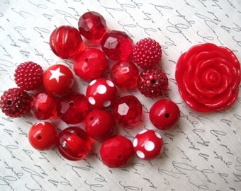 Red Gumball Bead Necklace Kit, Chunky Bubblegum Necklace Kit, Hardware Included, DIY Necklace