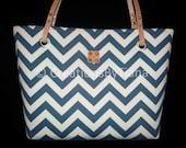 Navy Blue Chevron Bag - Purse - Canvas Bags - Shoulder Bag - Purse with leather handles - handmade