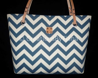 Navy Blue Chevron Bag - Purse - Canvas Bags - Shoulder Bag - Purse with leather handles - handmade