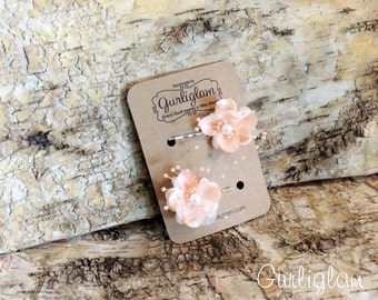 Peach Flower Hair Pins, Hair spray pins, bridal hair clips, Flower Hair Clips