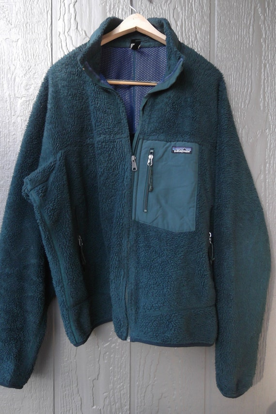 vintage PATAGONIA forest green full zip fleece jacket with