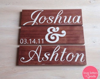 3 Piece Wedding Sign, Custom Wedding Sign, Wedding Date Sign