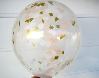 Confetti Balloons, Peach, White and Gold, Confetti Filled Balloons, 1st Birthday, Photo Prop, Bridal Shower, Baby Shower, Blush, Wedding