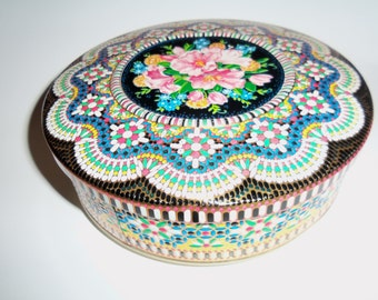 "Vintage  8"" Daher Design Tin Container storage sewing Embossed Mosaic Look Made in England"