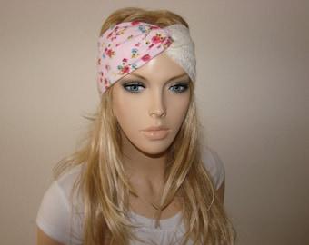 Pinkb Turban Headband, Ivory Lace Floral Yoga Headband, blue Pink yellow Green Boho hair band, Woman hippie head wrap, head scarf