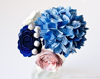 Toss or Flower Girl Bouquet with Hydrangeas, Roses & Brunia Berries made from Books - IN YOUR COLORS - Paper Wedding Flowers