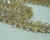 Champagne Beige Crystal Glass Faceted Rondelle Beads 5mm - 6mm