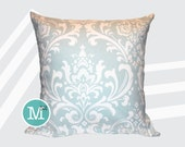 Powder Blue Damask Pillow Cover - Many Sizes Lumbar, 12, 14, 16 - Zipper Closure - sc246l