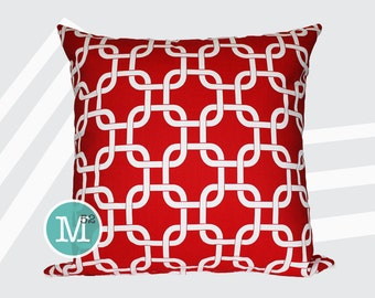Red Gotcha Pillow Cover - 20 x 20 and More Sizes - Zipper Closure