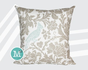 Powder Blue & Taupe Bird Pillow Cover - 20 x 20 and More Sizes - Zipper Closure