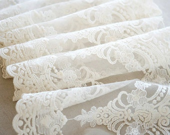 off white lace trim ,antique lace trim , vintage lace trim ,embroidered gauze lace fabric