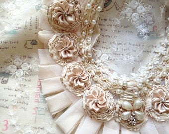 antique lace collar with sequin and pearl, beaded lace collar applique, nude ivory lace collar