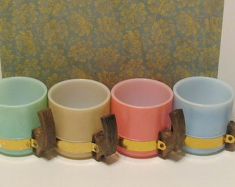 Siesta Ware Mugs with Faux wood handles pink mint pale blue tan
