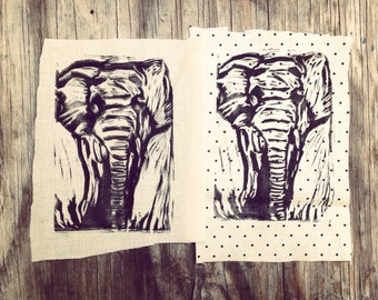 Elephant Drawing // Back Patch // Punk Patch // Relief Print // Linocut