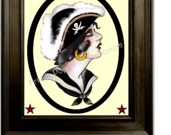 Pirate Pin up Tattoo Cameo Art Print 8 x 10  - Pinup Rockabilly - Retro 50s Kitsch - Sailor