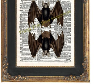 Victorian Bat Art Print 8 x 10 Dictionary Page - Goth Altered Art Collage - Horror - Vampire