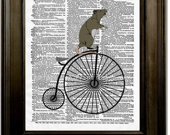Rat on High Wheel Bike Art Print 8 x 10 Dictionary Page - Rat on Victorian Bicycle - Pop Art