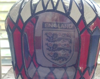 England Soccer Team Crown Royal Hand Painted upcycled glass bottle