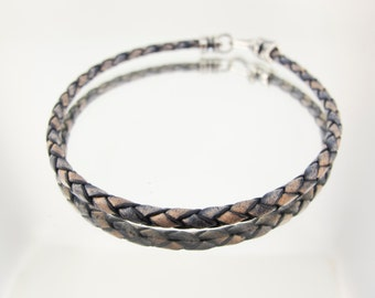 Bolo Braided Leather Bracelet Antique Blue and Tan #660