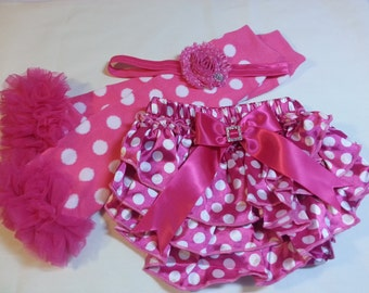Matching Christmas Set, Ruffled Satin Diaper Cover, with Matching Ruffled Leg Warmers and Headband, Infant Baby Toddler