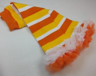 HALLOWEEN Candy Corn Leg Warmers,  Orange White  Yellow Striped Leg Warmers  Baby Leg Warmers, Leg Warmers for Girls, Infant Leg Warmers
