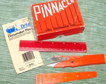 Vintage Sewing Notions, Pinnacle Dressmaker Pins, Measures