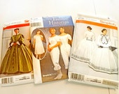 Lot of 3 Civil War Dress & Undergarments Sewing OOP Patterns, Uncut, Halloween, Reenactment Theater Costume