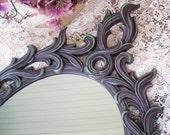 Gothic Wall Mirror - Purple Mirror - Vintage Wall Mirror - Oval Wall Mirror - Hand Painted Mirror - Turner Fashion Plate