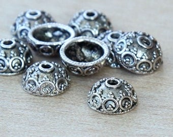 20 pcs Bead Caps, Antique Silver, 10mm Bali Design - eBCR030-AS
