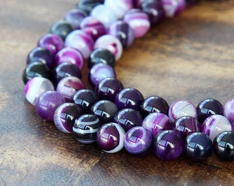 Striped Agate Beads, Purple, 6mm Round - 15 inch strand - eGR-AG58205-6