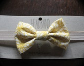 Baby Girl Yellow and White Floral Bow Headband Fold Over Elastic