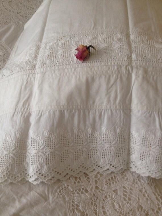 Vintage white lace pillowcase antique white shabby chic lace