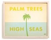 """Beach Art Print """"Palm Trees & High Seas"""""""