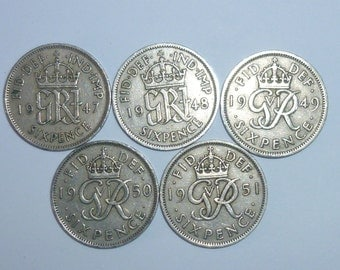 69th 68th 67th 66th 65th Birthdays. Genuine British Sixpence Coin.  1947, 1948, 1949, 1950, 1951. Birthday Gift / Coin for Special Year.