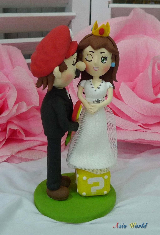 Wedding Cake Topper Tall Super Mario And Mini Princess Peach