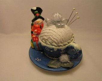 Snowman Teacup Pin Cushion