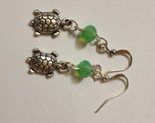 Turtle with Frosted Green Crystal Bead Earrings