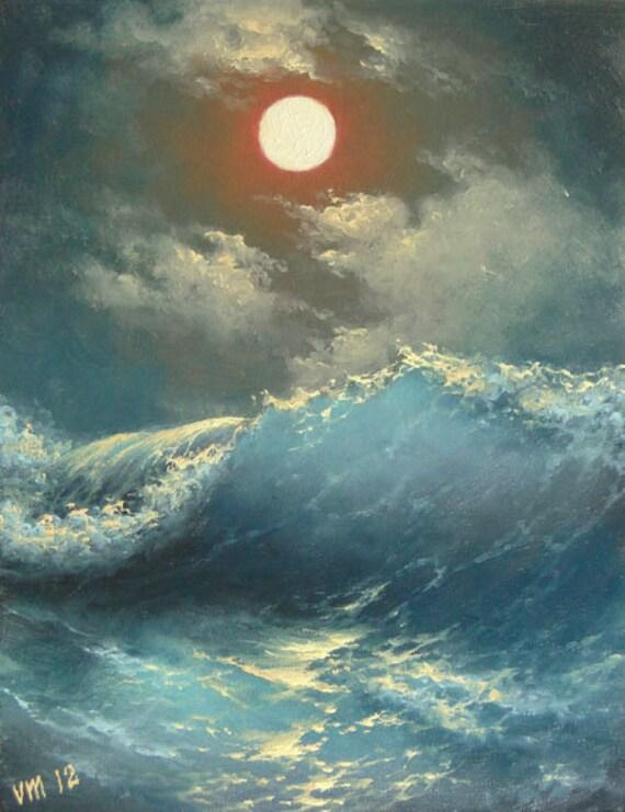 """152 - """"Caribbean Sea"""",  8""""x 10""""  original canvas giclee print"""