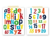 Set of ABC and Number Prints - You can choose the colors - Baby Nursery - Kids Room Art - Custom Wall Print Poster