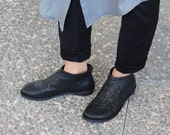 Black wrinkle leather high top shoes, black shoes with back zipper, black leather designer shoes, women's shoes