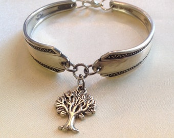 Tree of Life Charm on Vintage Handcrafted Silverware Spoon Bracelet