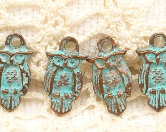Tiny, Rustic, Vintage Look, Owl Charms - Mykonos Casting Beads (6) - M7 - X0235