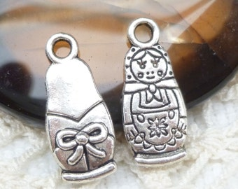 Russian Doll Matryoshka Charms, Antiqued Silver (6) - S72