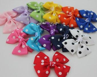 3 polka bow - polka hair bow - girl hair bow - toddler bow - hair bow toddler - dot bow - polka dots bow - red polka dots bow - white polka